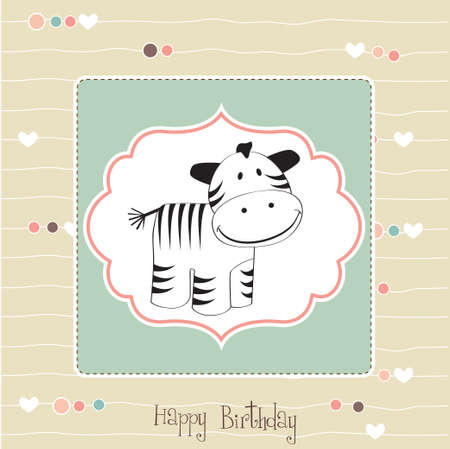 baby shower card with zebra Vector