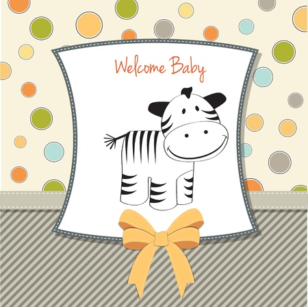 baby shower card with zebra Stock Vector - 11358211
