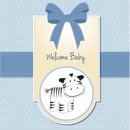 baby boy shower: baby shower card with zebra