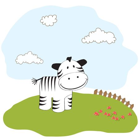 baby shower card with zebra Stock Vector - 11358206