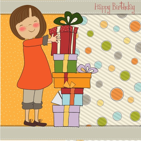 happy birthday girl: young girl with gift Illustration