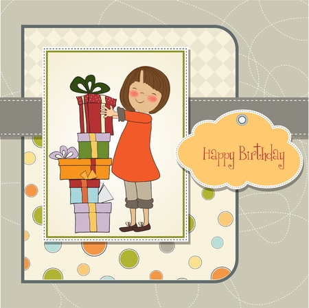 baby birth: young girl with gift Illustration