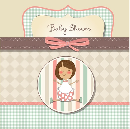 vintage baby: romantic baby girl shower card