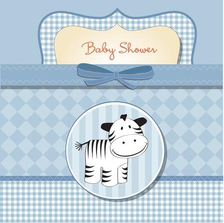 beb� ducha con tarjeta de cebra Vectores
