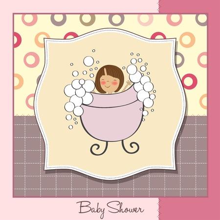 little girl sitting: baby girl shower card