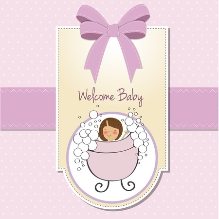 little girl bath: baby girl shower card