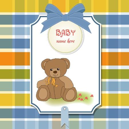 baby bear: new baby announcement card with teddy bear