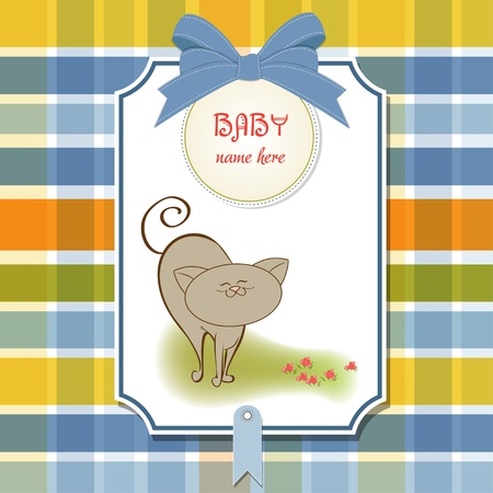 baby shower card with cat Stock Vector - 11358546