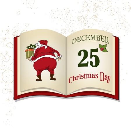 libro caricatura: Libro de la Navidad aislado en el fondo blanco Vectores