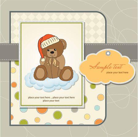 customizable: customizable greeting card with teddy bear  Illustration