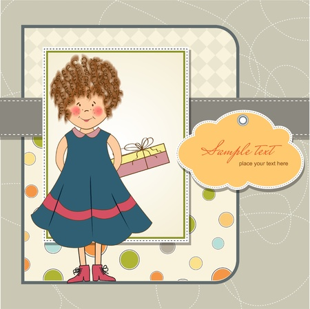 curly young girl she hide a gift Stock Vector - 11358835