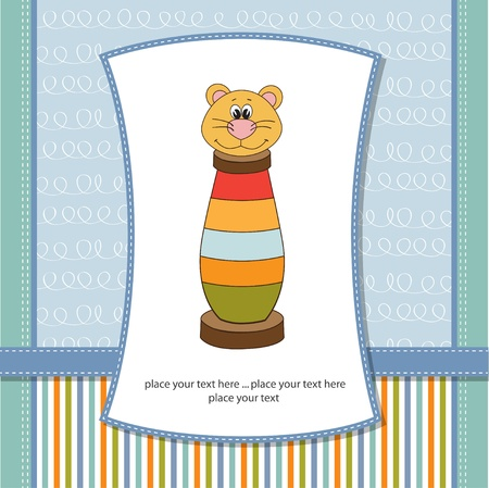 cute little boy: baby shower card with toy Illustration