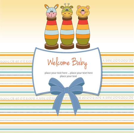 baby romantic: baby shower card with toys