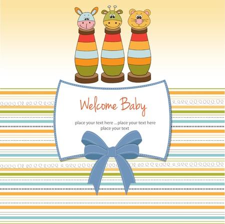 leon bebe: Tarjeta de Baby Shower con los juguetes Vectores