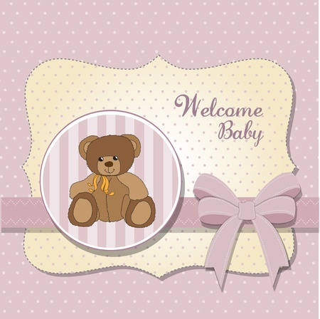new baby announcement card with teddy bear  Vector