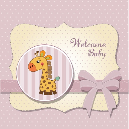 new baby announcement card with giraffe Vector