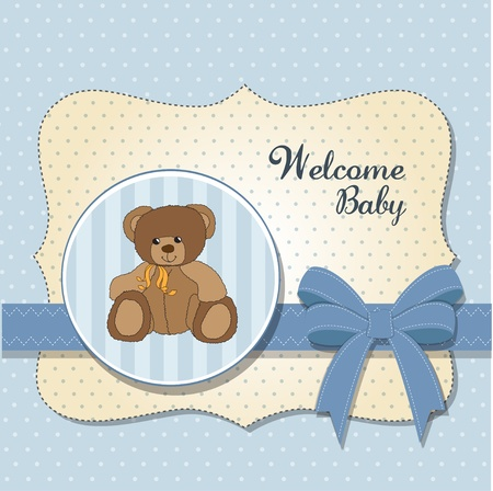 cute baby girls: new baby announcement card with teddy bear