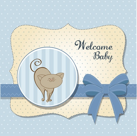playfulness: baby shower card with cat  Illustration