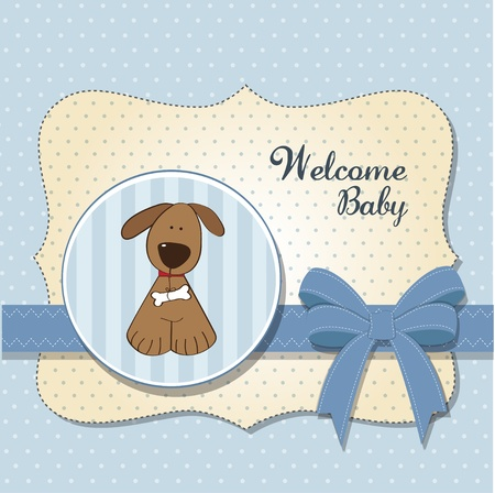 baby shower card with dog  Vector