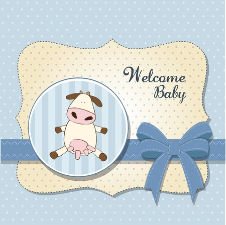 welcome smile: welcome baby card with cow  Illustration