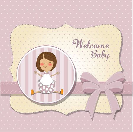 pink stripes: new baby girl announcement card