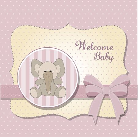 new baby card with elephant Vector