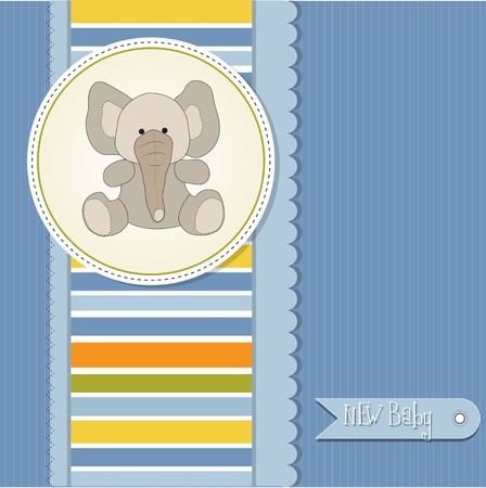 new baby boy announcement card with elephant  Vector