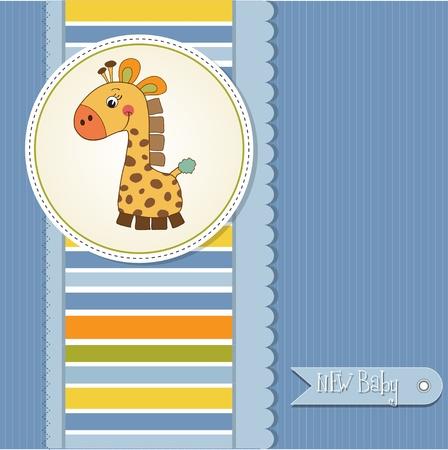 new baby boy announcement card with giraffe  Vector