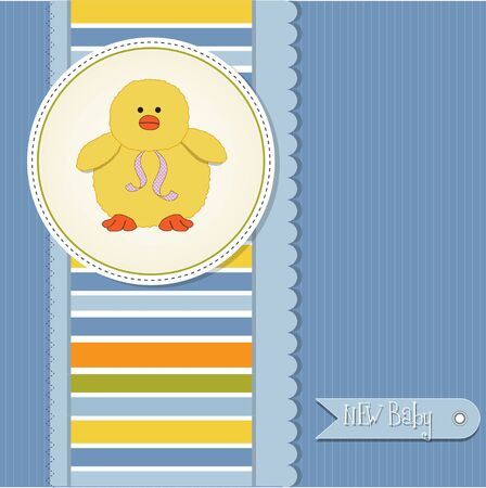 new baby boy announcement card with duck  Vector