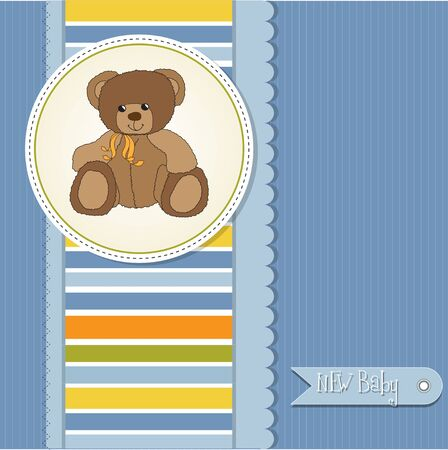 new baby boy announcement card with teddy bear  Vector