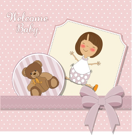 baby girl announcement card Stock Vector - 11358796