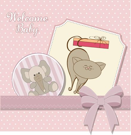 baby girl announcement card  Stock Vector - 11358634