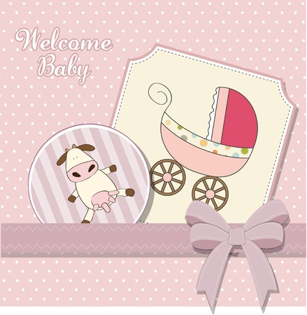 strip a cow: baby girl announcement card