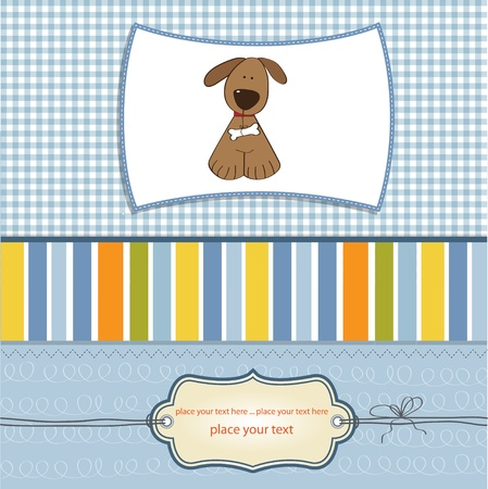 newborn baby girl: greeting card with small dog