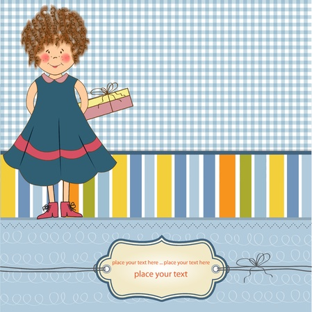 curly young girl she hide a gift Stock Vector - 11358834