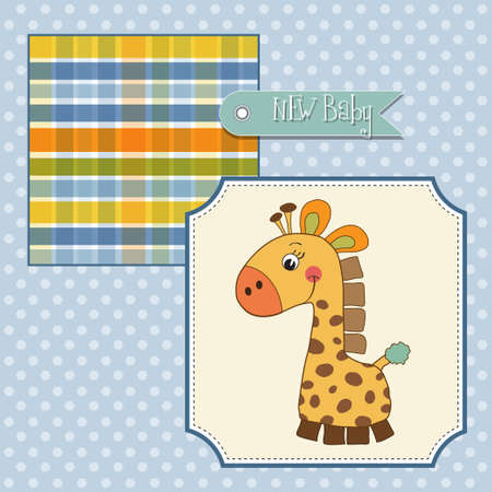 shower card with giraffe toy