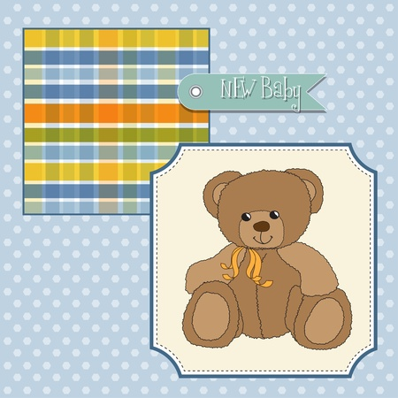 baby announcement card: new baby announcement card with teddy bear Illustration