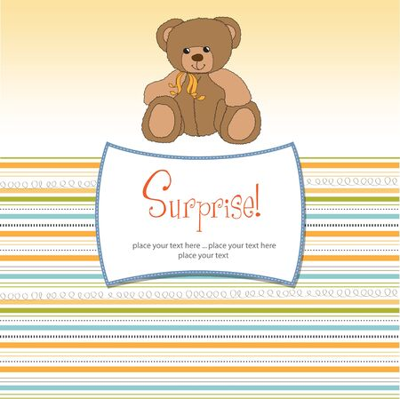 specifically: surprised greeting card with teddy bear