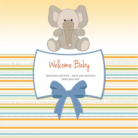 little boy and girl: new baby arrived card  Illustration