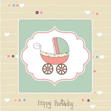 baby card with pram  Vector