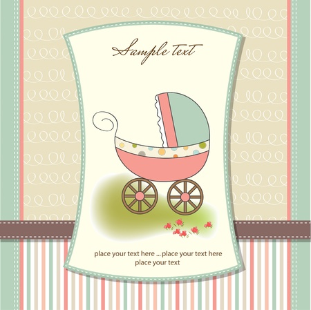 baby announcement: baby card with pram
