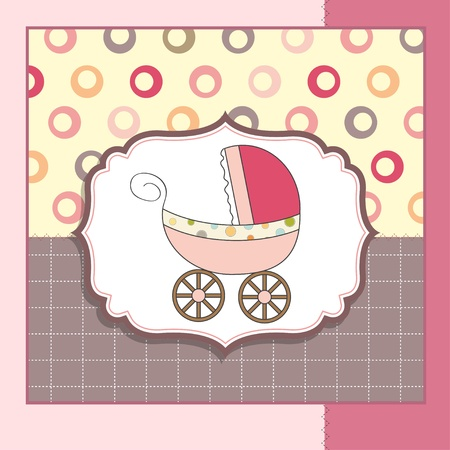 baby boy birth: baby card with pram