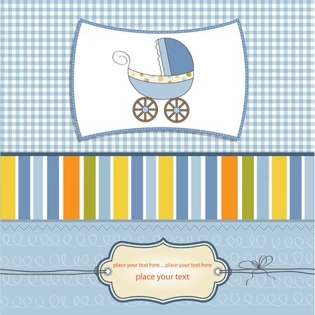 baby boy shower: baby card with pram