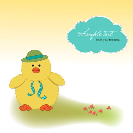 new baby card with little duck  Vector