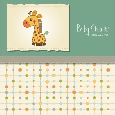 vintage baby: shower card with giraffe toy