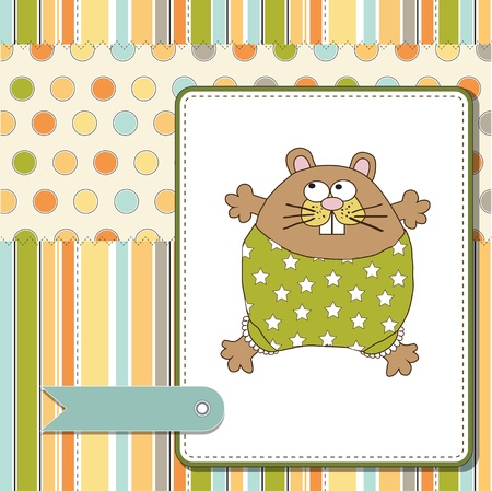 moments: greeting card with cute little rat