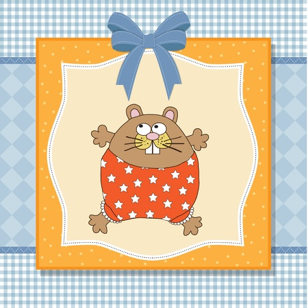 playfulness: greeting card with cute little rat