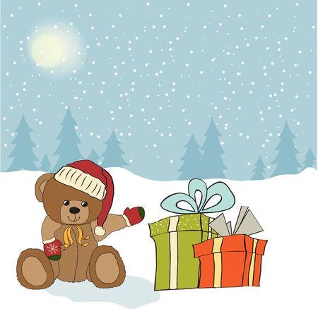 osos de peluche: Tarjeta de felicitación de la Navidad