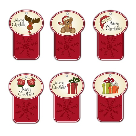 teddy bear christmas: Christmas labels set