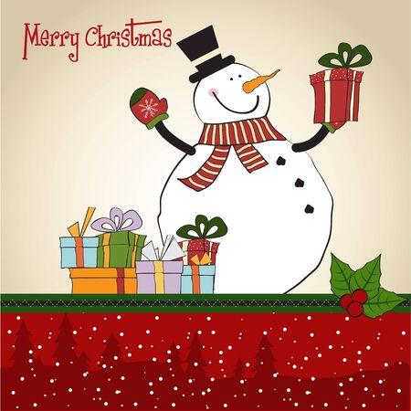 renos de navidad: Tarjetas de felicitación de Navidad con el muñeco de nieve